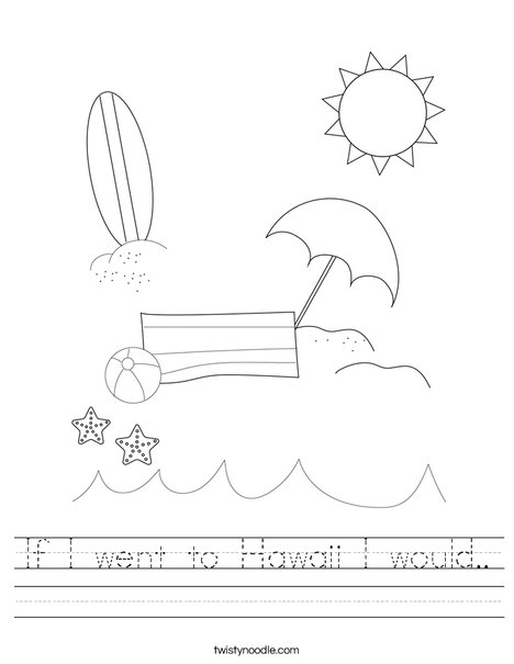 Man on the Beach with Ball Worksheet