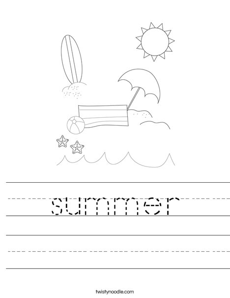 Printables Summer Worksheets summer worksheet twisty noodle man on the beach with ball worksheet