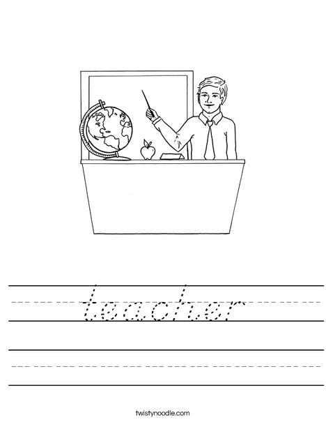 Man Teacher Worksheet