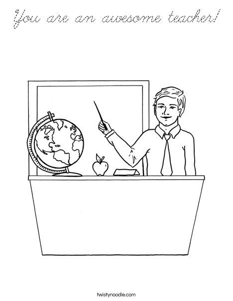 Man Teacher Coloring Page