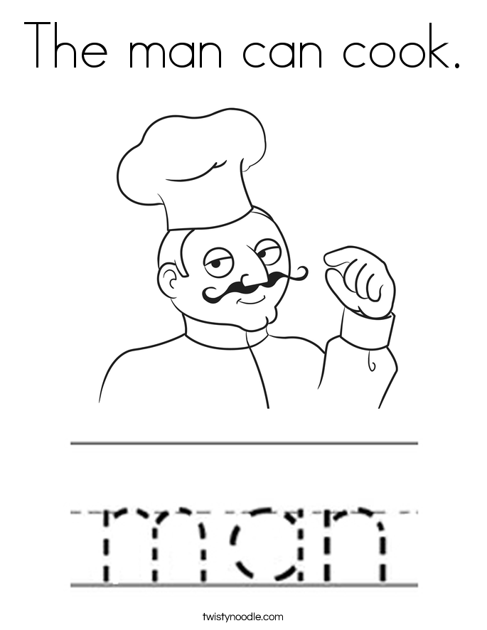 The man can cook. Coloring Page