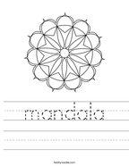 mandala Handwriting Sheet