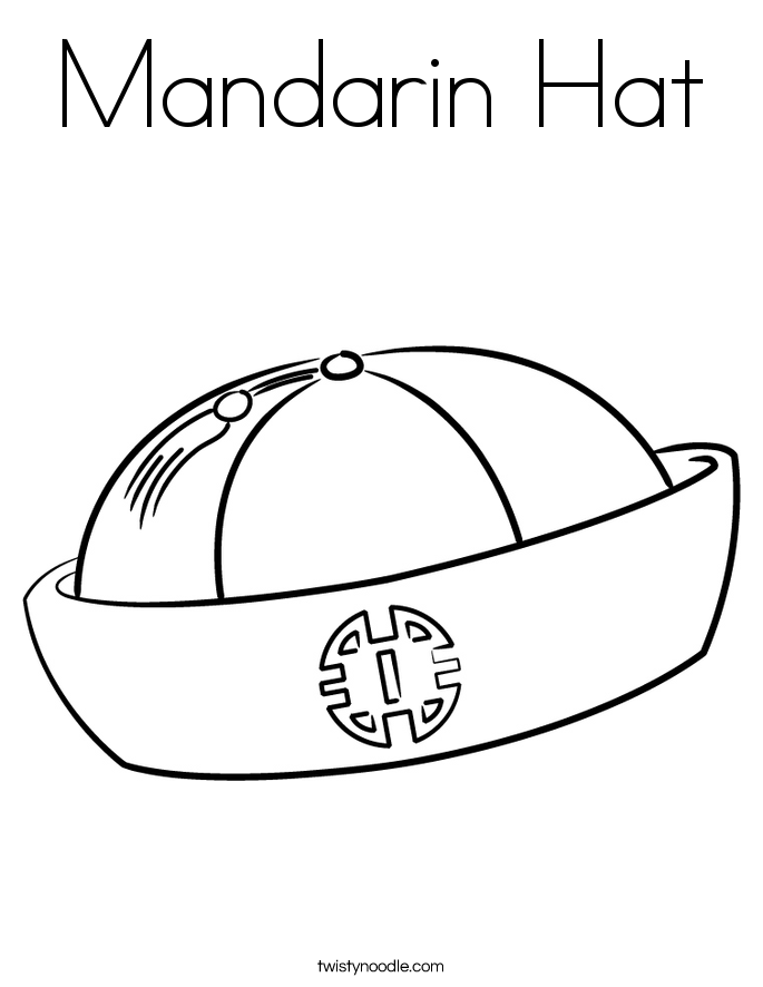 Mandarin Hat Coloring Page