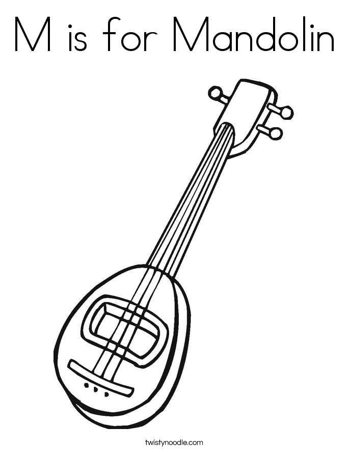 M is for Mandolin Coloring Page