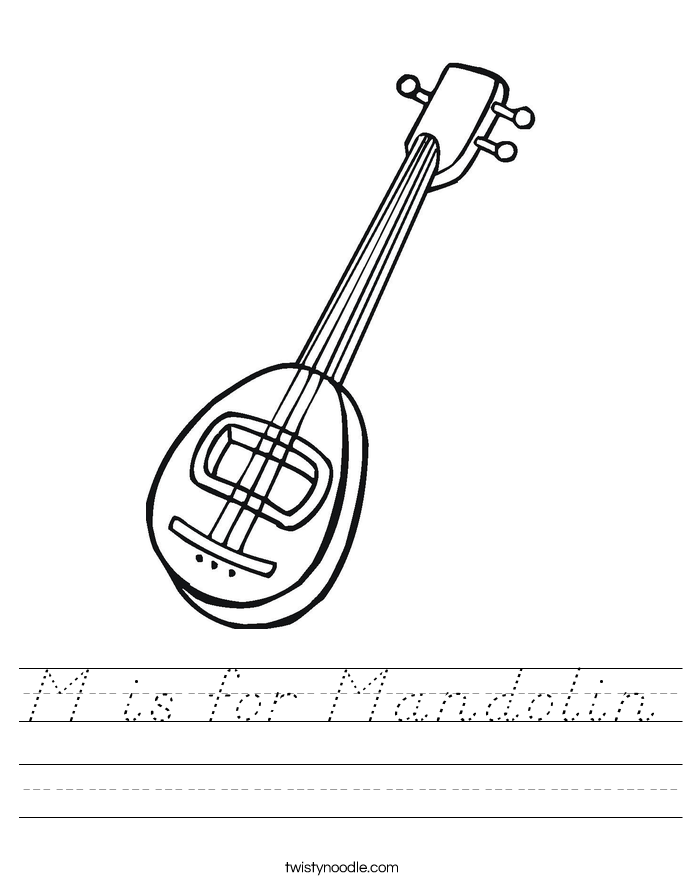 M is for Mandolin Worksheet