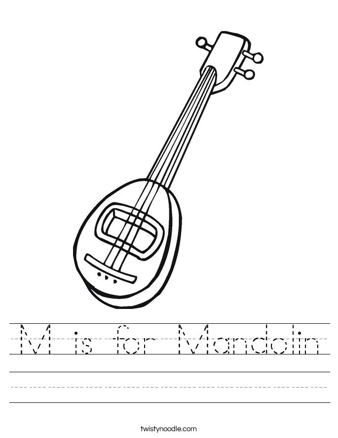 M is for Mandolin Worksheet