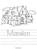 Mansion Handwriting Sheet