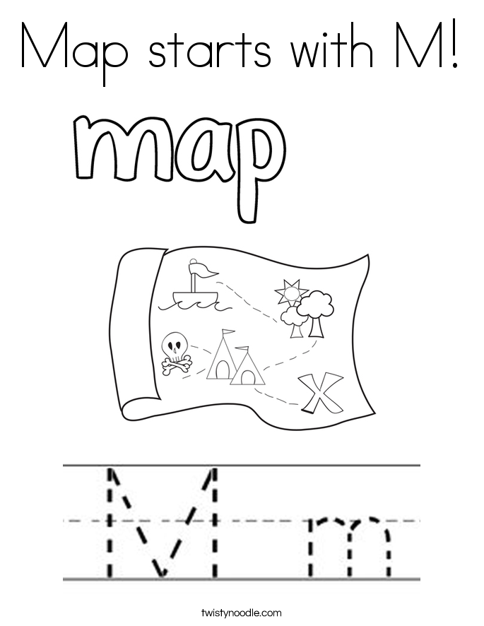 Map starts with M! Coloring Page