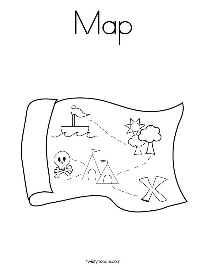 coloring page of a map - Map Coloring Pages