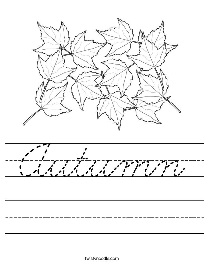 Autumn Worksheet - Cursive - Twisty Noodle