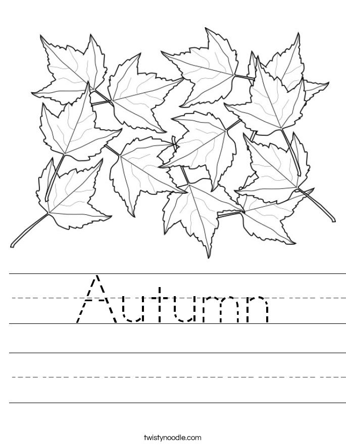 Autumn Worksheet Twisty Noodle – Preschool Fall Worksheets
