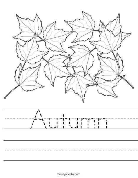 Number Names Worksheets autumn worksheet : Autumn Worksheet - Twisty Noodle