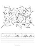 Color the Leaves Worksheet