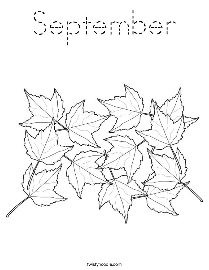 september coloring page tracing twisty noodle. Black Bedroom Furniture Sets. Home Design Ideas
