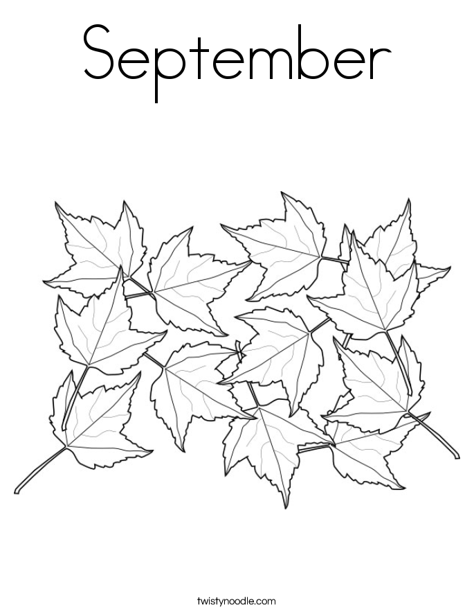 September Coloring Page - Twisty Noodle