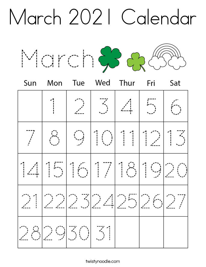March 2021 Calendar Coloring Page