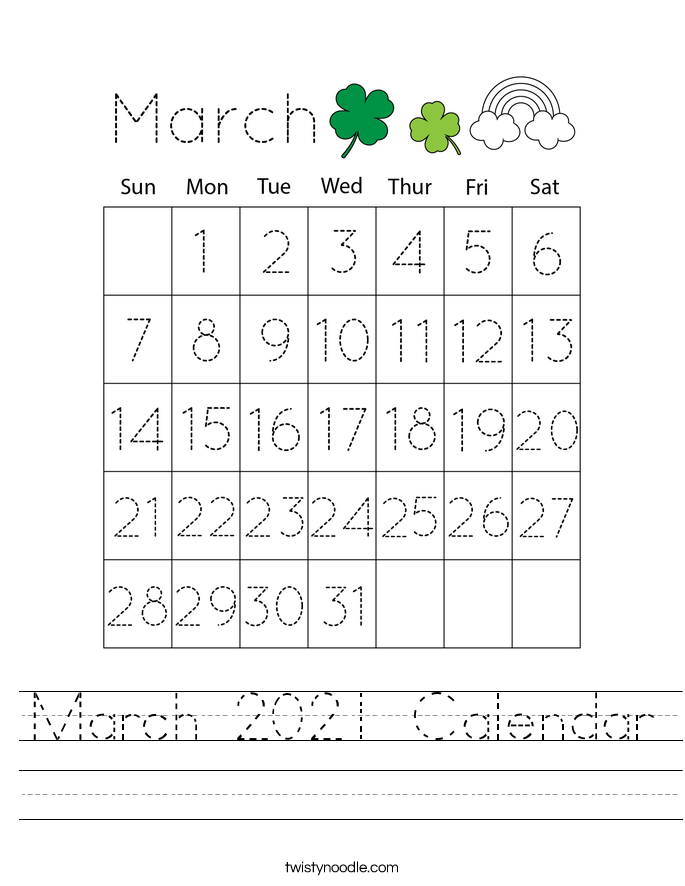 March 2021 Calendar Worksheet