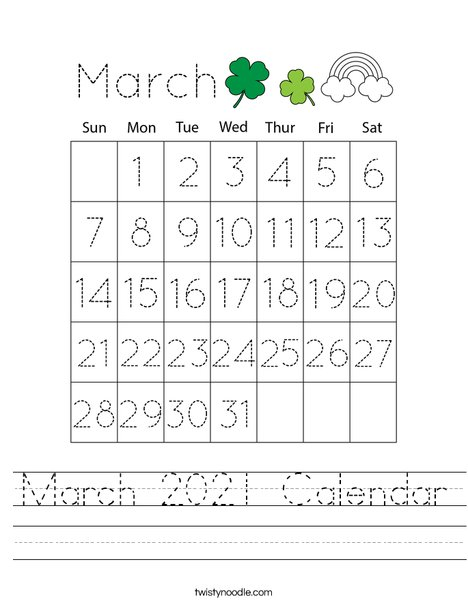 March 2020 Calendar Worksheet