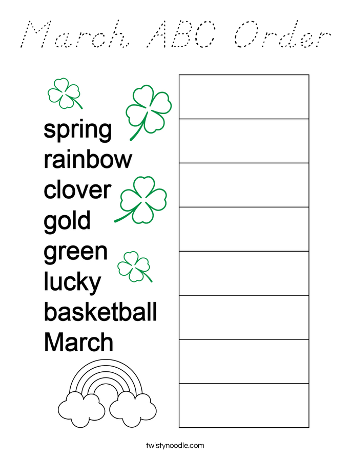 March ABC Order Coloring Page