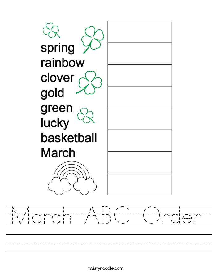 March ABC Order Worksheet