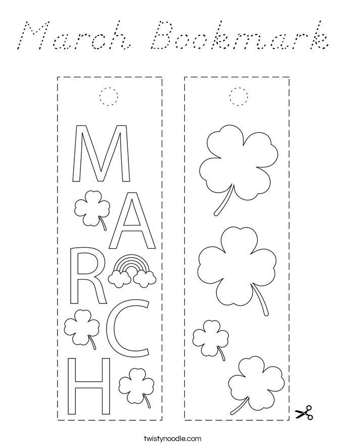 March Bookmark Coloring Page