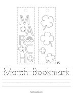 March Bookmark Handwriting Sheet