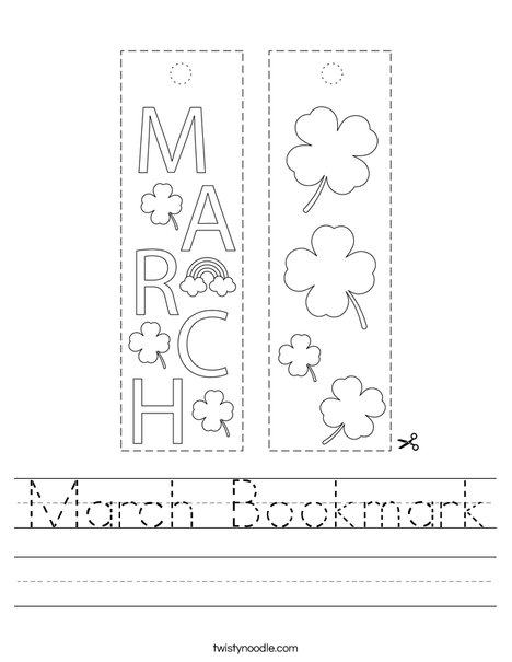 March Bookmark Worksheet