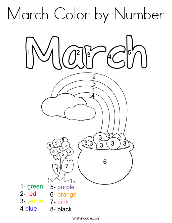 March Color by Number Coloring Page Twisty Noodle