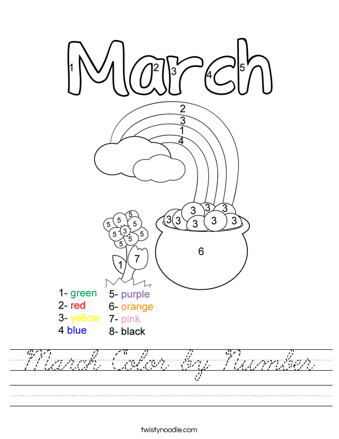 March Color by Number Worksheet