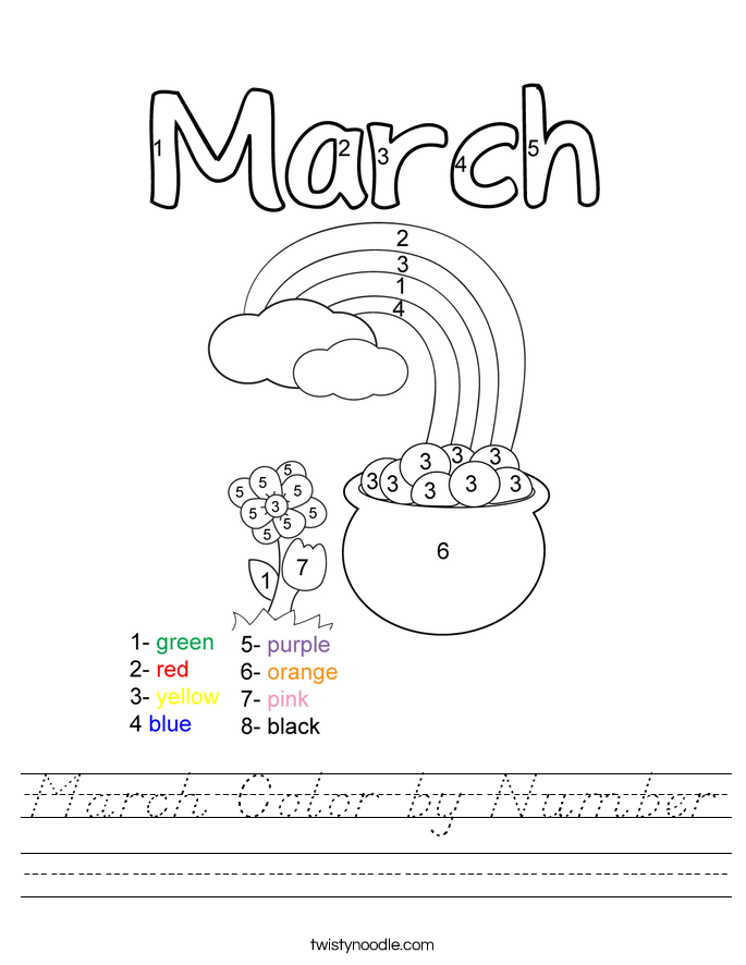 March Color by Number Worksheet - D'Nealian - Twisty Noodle