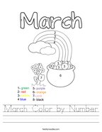 March Color by Number Handwriting Sheet