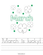 March is lucky Handwriting Sheet
