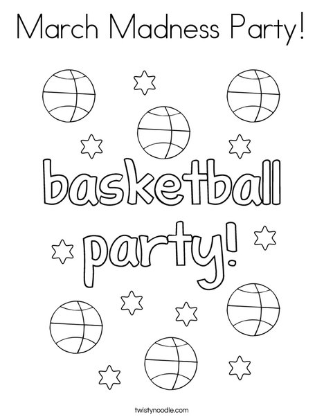 March Madness Party! Coloring Page