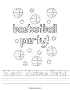 March Madness Party Handwriting Sheet