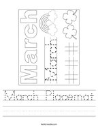 March Placemat Handwriting Sheet