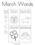 March Words Coloring Page