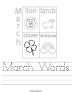 March Words Handwriting Sheet