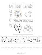 March Words Handwriting Sheet