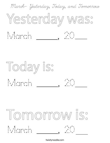 March- Yesterday, Today, and Tomorrow Coloring Page