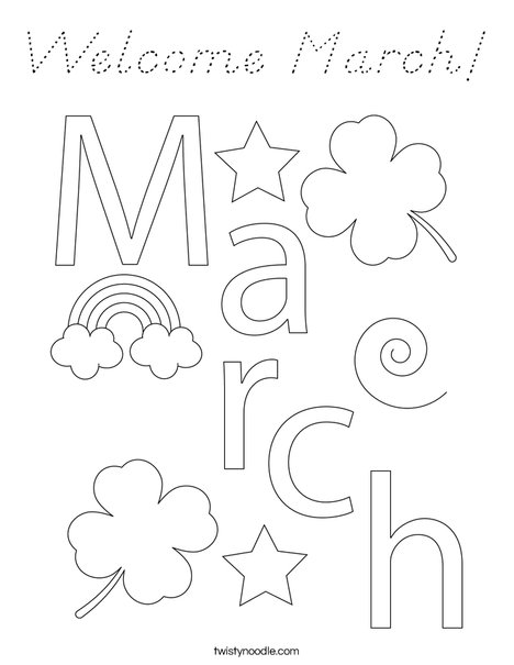 Welcome March Coloring Page
