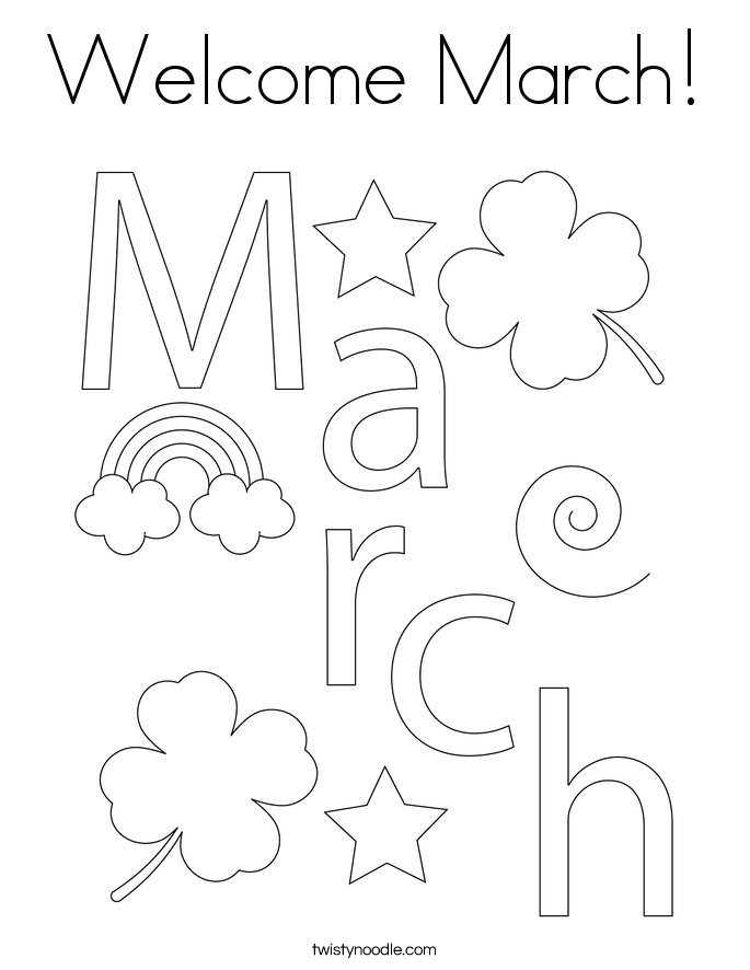 Welcome March! Coloring Page