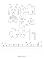 Welcome March Handwriting Sheet