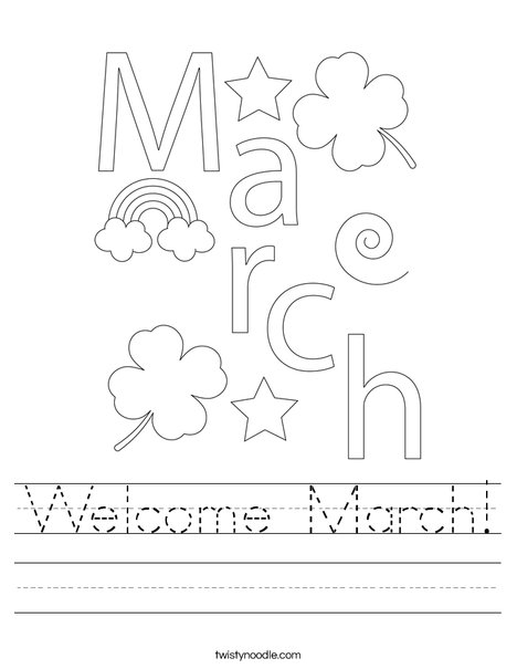 Welcome March Worksheet