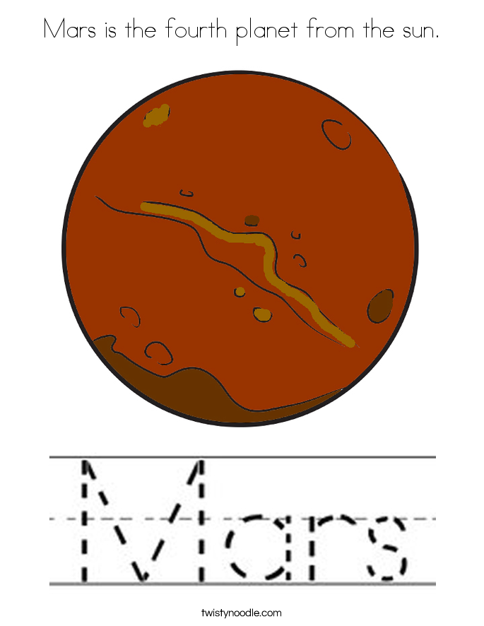 Mars is the fourth planet from the sun. Coloring Page