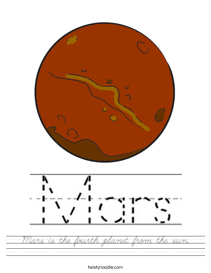 Mars is the fourth planet from the sun. Worksheet
