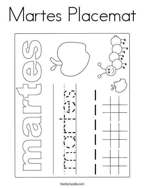 Martes Placemat Coloring Page