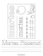 Martes Placemat Handwriting Sheet