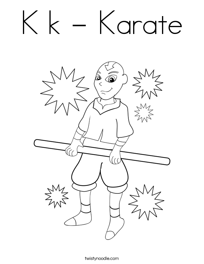 K k - Karate Coloring Page
