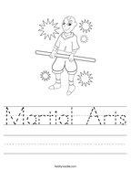 Martial Arts Handwriting Sheet
