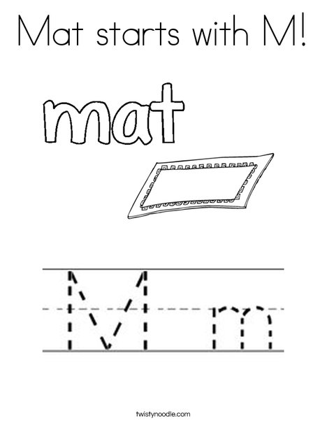 Mat starts with M! Coloring Page